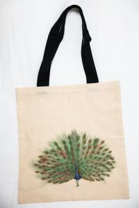 Organic Cotton Bag Peacock Bird
